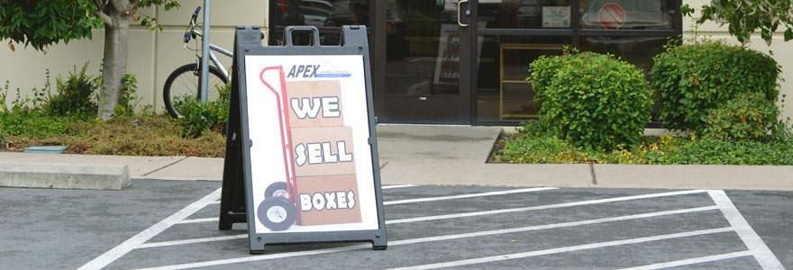 Apex moving boxes sign