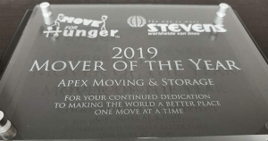 "Award plaque entitled ""Move For Hunger Mover of the Year 2019"""