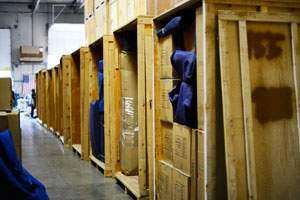 crates in storage warehouse