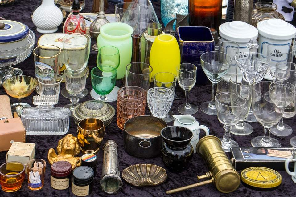 glassware at a garage sale