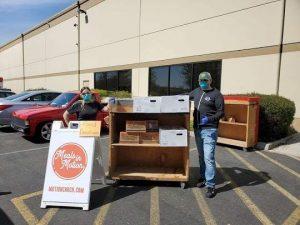 Socially distant food drive for Meals in Motion at Apex Moving & Storage