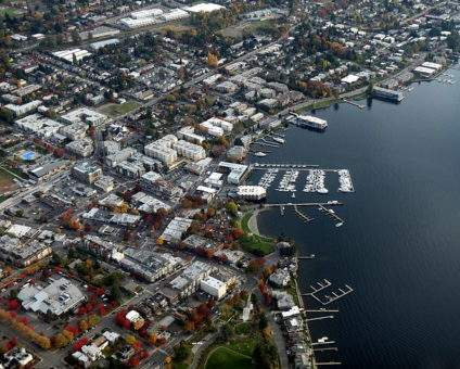 The downtown waterfront area of Kirkland, Washington, on the shores of Lake Washington.