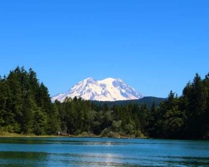 Mount Rainier towers over Lake Washington